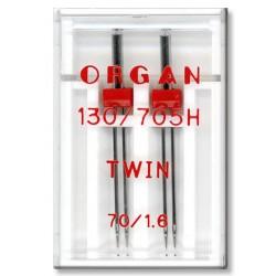 Machine Needles ORGAN TWIN 130/705 H - 70 (1,6) - 2pcs/plastic box