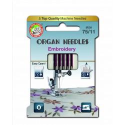 Machine Needles ORGAN EMBROIDERY ASSORT 130/705H -75 - 5pcs/card