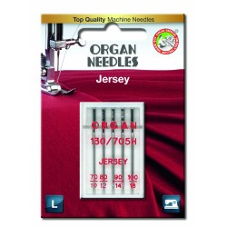 Machine Needles ORGAN JERSEY 130/705H - Assort - 5pcs/plastic box/card (70:1, 80:1, 90:2, 100:1pcs)