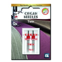 Machine Needles ORGAN TWIN 130/705 H - 70 (2,0) - 2pcs/plastic box/card