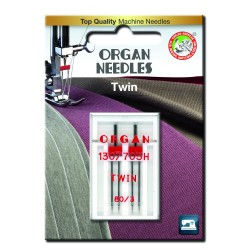 Machine Needles ORGAN TWIN 130/705 H - 80 (3,0) - 2pcs/plastic box/card