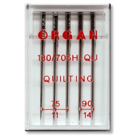 Machine Needles ORGAN QUILTING 130/705H - Assort - 5pcs/plastic box (75:3, 90:2pcs)