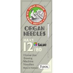 Machine Needles ORGAN HAx1 130/705H - 80/12 - 5pcs/package