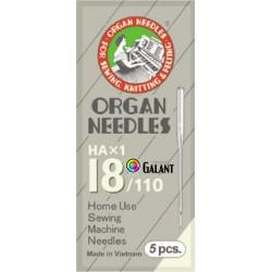 Machine Needles ORGAN HAx1 130/705H - 110/18 - 5pcs/package