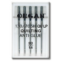 Machine Needles ORGAN QUILTING ANTI-GLUE 130/705H - QULP - 90 - 5pcs/plastic box