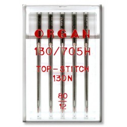 Machine Needles ORGAN TOP STITCH 130/705H - 80 - 5pcs/plastic box